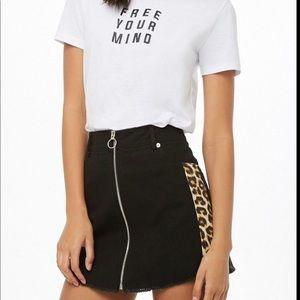 Forever 21 Black Leopard Striped Denim Skirt